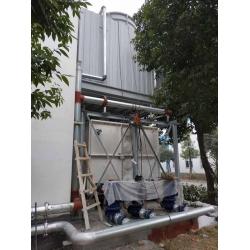 成都双流24立方玻璃钢水箱冷却塔循环系统管道安装现场